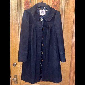 Juicy C. BLK Wool Blend Over Coat w/ Back Detail